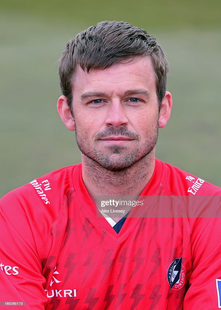 Gareth Cross of Lancashire CCC wears the T20 kit during a pre-season photocall at Old Trafford on April 2, 2013 in Manchester, England.