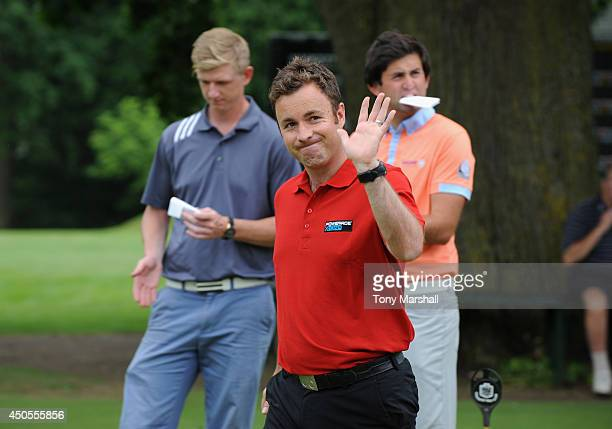 Gareth Davies of Abbeydale Golf Club acknowledges his fans after winning the Powerde PGA Assistants' Championship Final at The Coventry Golf Club on...