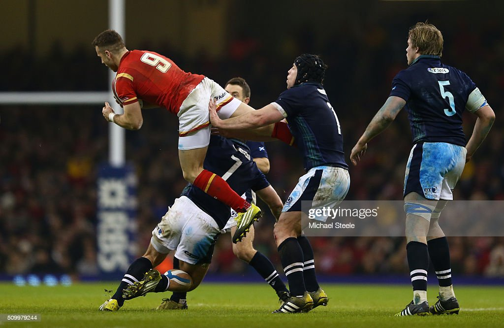 Gareth Davies of Wales claims a high ball during the RBS Six Nations match between Wales and Scotland at the Principality Stadium on February 13, 2016 in Cardiff, Wales.