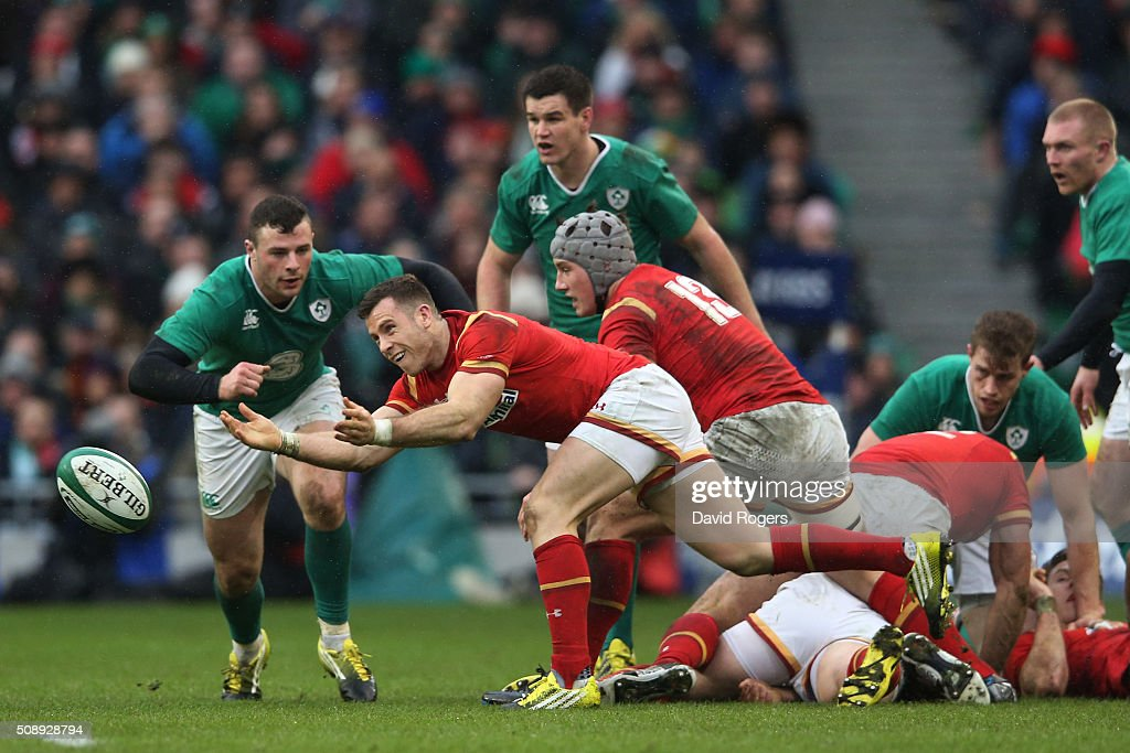 Gareth Davies of Wales passes the ball during the RBS Six Nations match between Ireland and Wales at the Aviva Stadium on February 7, 2016 in Dublin, Ireland.