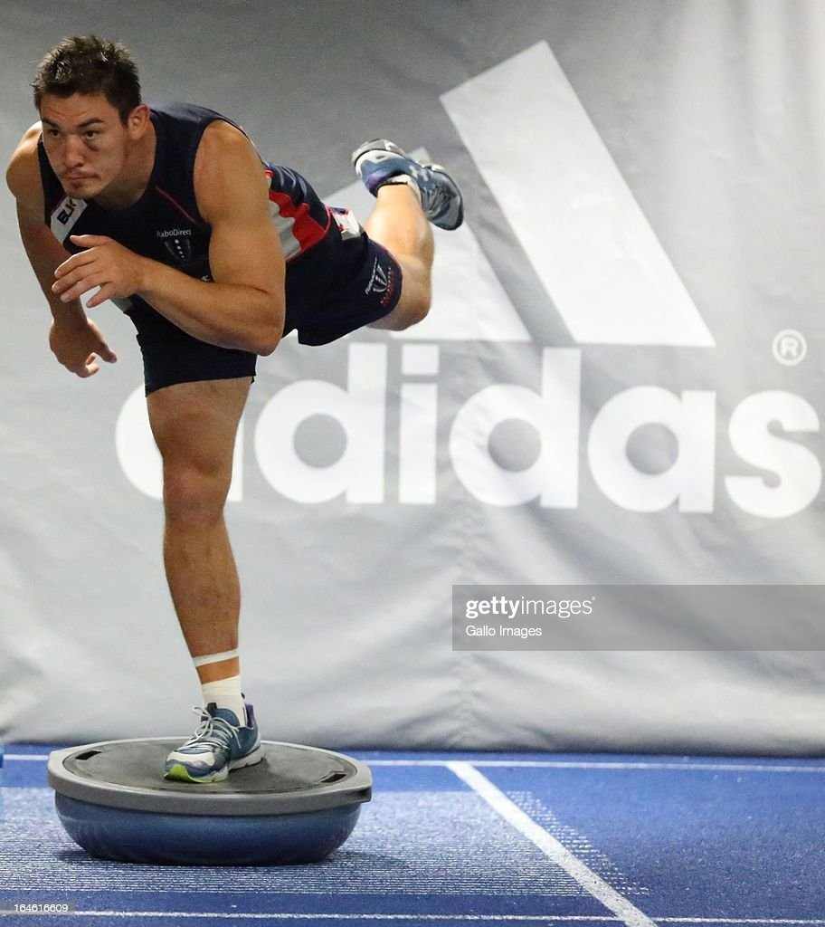 Gareth Delve during the Melbourne Rebels gym session at the Prime Human Performance Institute at Moses Mabhida Stadium on March 25, 2013 in Durban, South Africa.