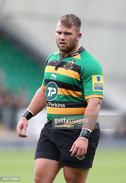 Gareth Denman of Northampton looks on during the pre season friendly match between Northampton Saints and Leinster at Franklin's Gardens on August 23...