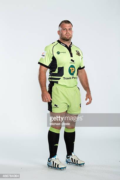 Gareth Denman of Northampton poses for a picture during the Northampton Saints Photocall for BT at Franklins Gardens on August 20 2014 in Northampton...
