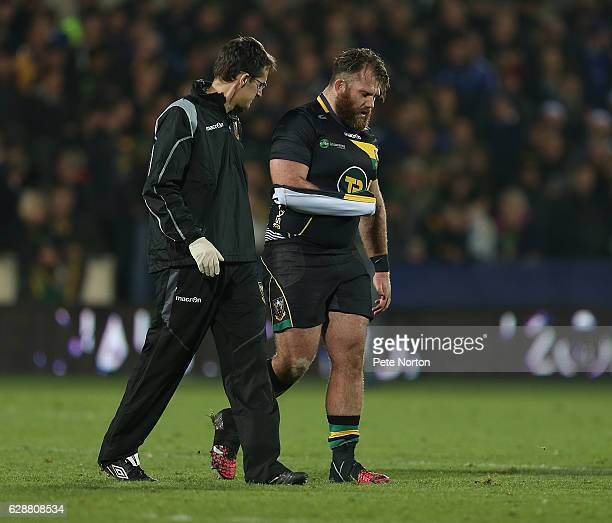 Gareth Denman of Northampton Saints walks from the pitch injured during the European Rugby Champions Cup match between Northampton Saints and...