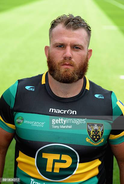 Gareth Denman poses for a portrait during the Northampton Saints squad photocall for the 20162017 Aviva Premiership Rugby season on August 18 2016 in...