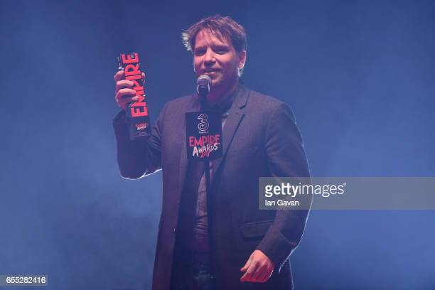 Gareth Edwards wins the award for Best Director for the film Rogue One during the THREE Empire awards at The Roundhouse on March 19 2017 in London...