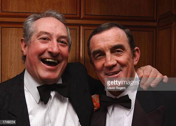 Gareth Edwards with Phil Bennett the Barbarian halfback pairs in jovial mood during the reunion party for the 1973 Barbarians held at the Hilton...