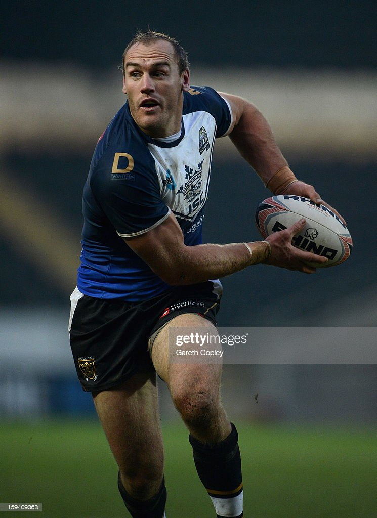 Gareth Ellis of Hull FC in action during a pre-season friendly match between Hull FC and Castleford Tigers at The KC Stadium on January 13, 2013 in Hull, England.