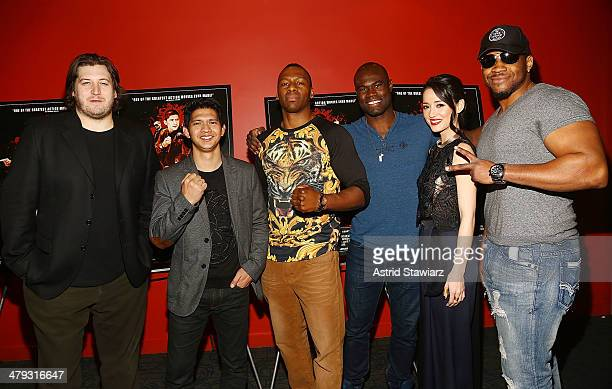 Gareth Evans Iko Uwais Wayne Barrett Uriah Hall Julie Estelle and Jarrell Miller attend 'The Raid 2' special screening at Sunshine Landmark on March...
