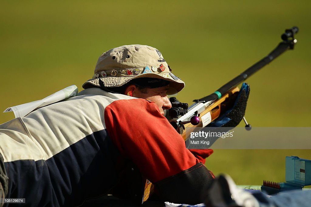 Gareth Goodwin of the Falkland Islands competes in the 500 yards Singles Full Bore Open at the CRPF Campus, Kadarpur during day seven of the Delhi 2010 Commonwealth Games on October 10, 2010 in Gurgaon, India.