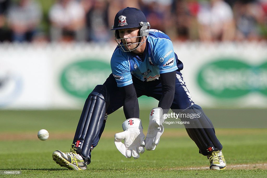 Gareth Hopkins of Auckland fields the ball during the HRV Cup Twenty20 Preliminary Final between the Wellington Firebirds and the Auckland Aces at Basin Reserve on January 18, 2013 in Wellington, New Zealand.