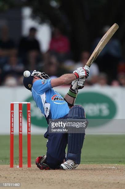 Gareth Hopkins of Auckland is stuck by the ball during the HRV Cup match between the Auckland Aces and Canterbury Wizards at Colin Maiden Park on...