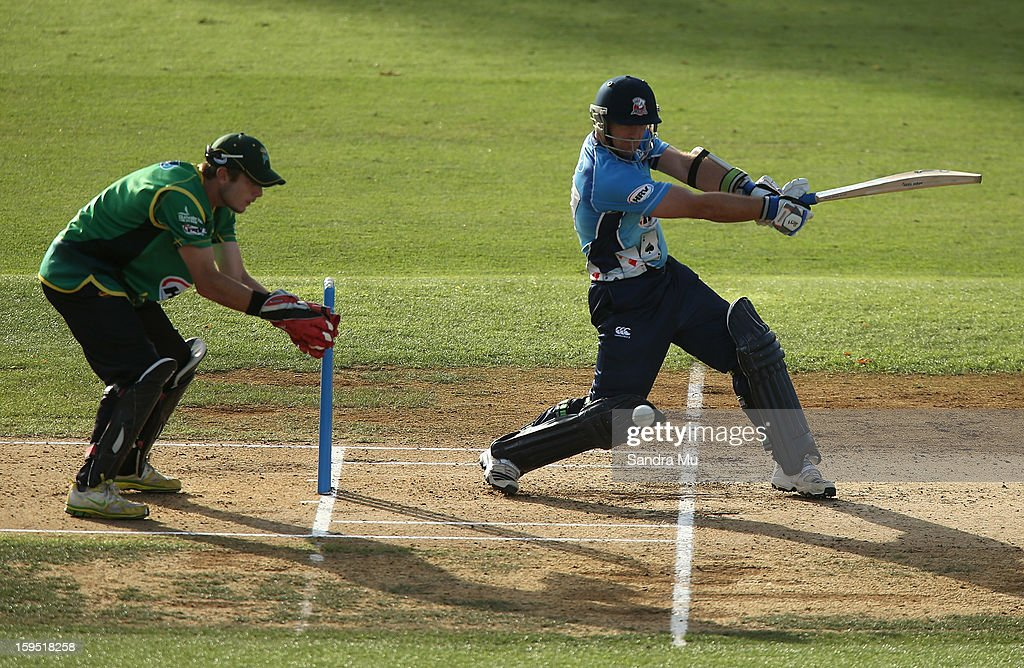Gareth Hopkins of the Aces bats during the HRV Cup Twenty20 match between the Auckland Aces and the Central Stags at Eden Park on January 15, 2013 in Auckland, New Zealand.