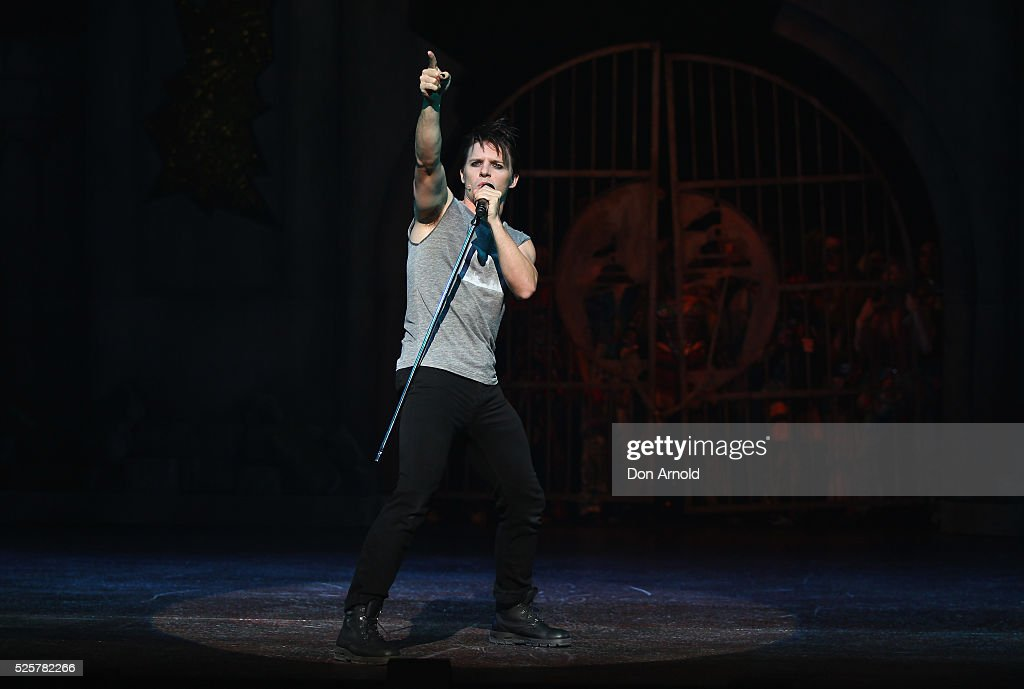 Gareth Keegan plays the role of Galileo during the 'We Will Rock You' media call at Lyric Theatre, Star City on April 29, 2016 in Sydney, Australia.