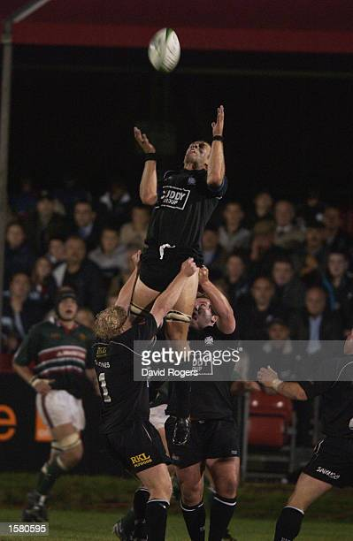 Gareth Llewellyn of Neath claims the ball during the Heineken Cup Pool 1 match between Neath and Leicester Tigers held on October 11 2002 at the...