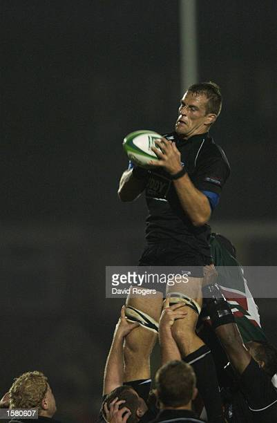Gareth Llewellyn of Neath holds onto the ball during the Heineken Cup Pool 1 match between Neath and Leicester Tigers held on October 11 2002 at the...