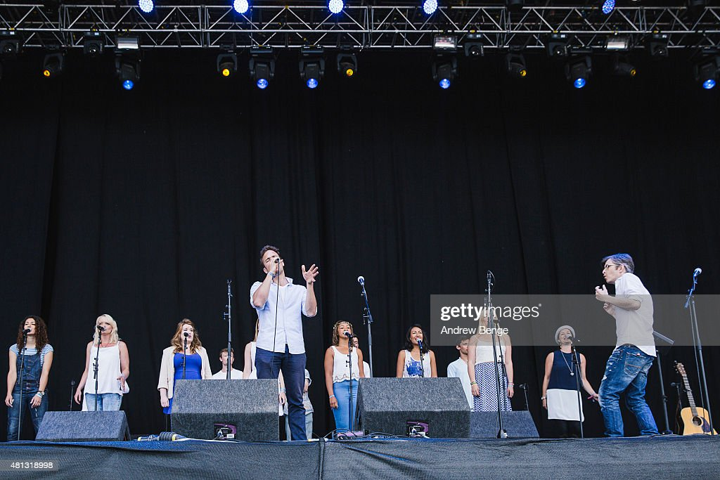 <a gi-track='captionPersonalityLinkClicked' href=/galleries/search?phrase=Gareth+Malone&family=editorial&specificpeople=5333670 ng-click='$event.stopPropagation()'>Gareth Malone</a> and Voices perform on the Main Stage at Latitude Festival on July 19, 2015 in Southwold, United Kingdom.