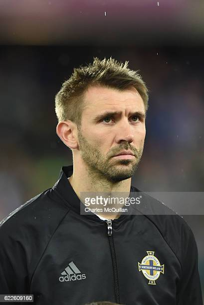 Gareth McAuley of Northern Ireland pictured during the FIFA 2018 World Cup Qualifier between Northern Ireland and Azerbaijan at Windsor Park on...