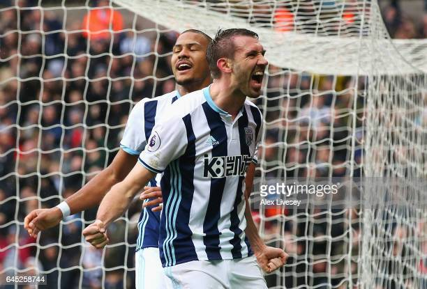 Gareth McAuley of West Bromwich Albion celebrates scoring his sides second goal during the Premier League match between West Bromwich Albion and AFC...