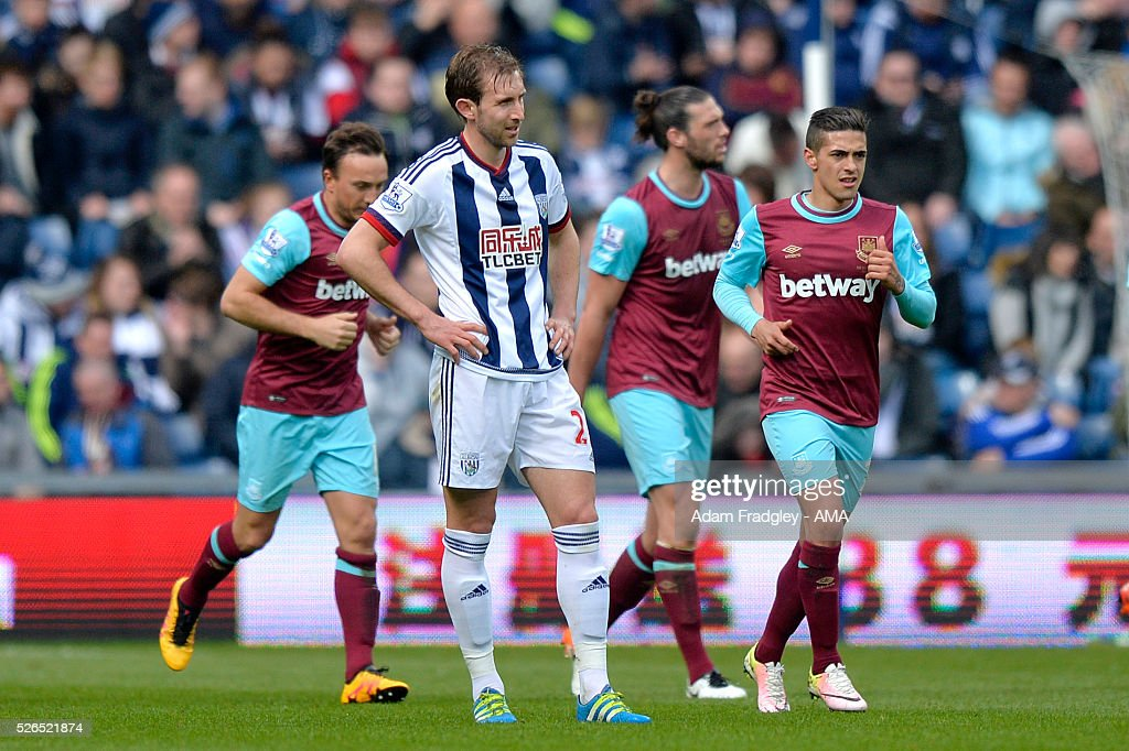 Gareth McAuley of West Bromwich Albion looks dejected during the Barclays Premier League match between West Bromwich Albion and West Ham United at The Hawthorns on April 30, 2016 in West Bromwich, United Kingdom.