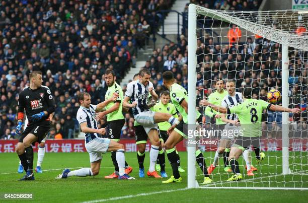 Gareth McAuley of West Bromwich Albion scores his sides second goal during the Premier League match between West Bromwich Albion and AFC Bournemouth...