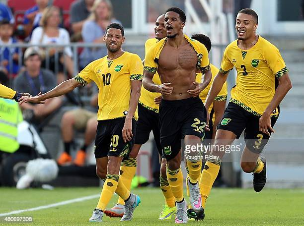 Gareth McCleary of Jamaica celebrates his goal during the 2015 CONCACAF Gold Cup Group B match between Jamaica and El Salvador at BMO Field on July...