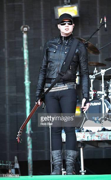 Gareth McGrillen from Pendulum perform on the Pyraid Stage at Glastonbury Festival on June 26 2011 in Glastonbury England