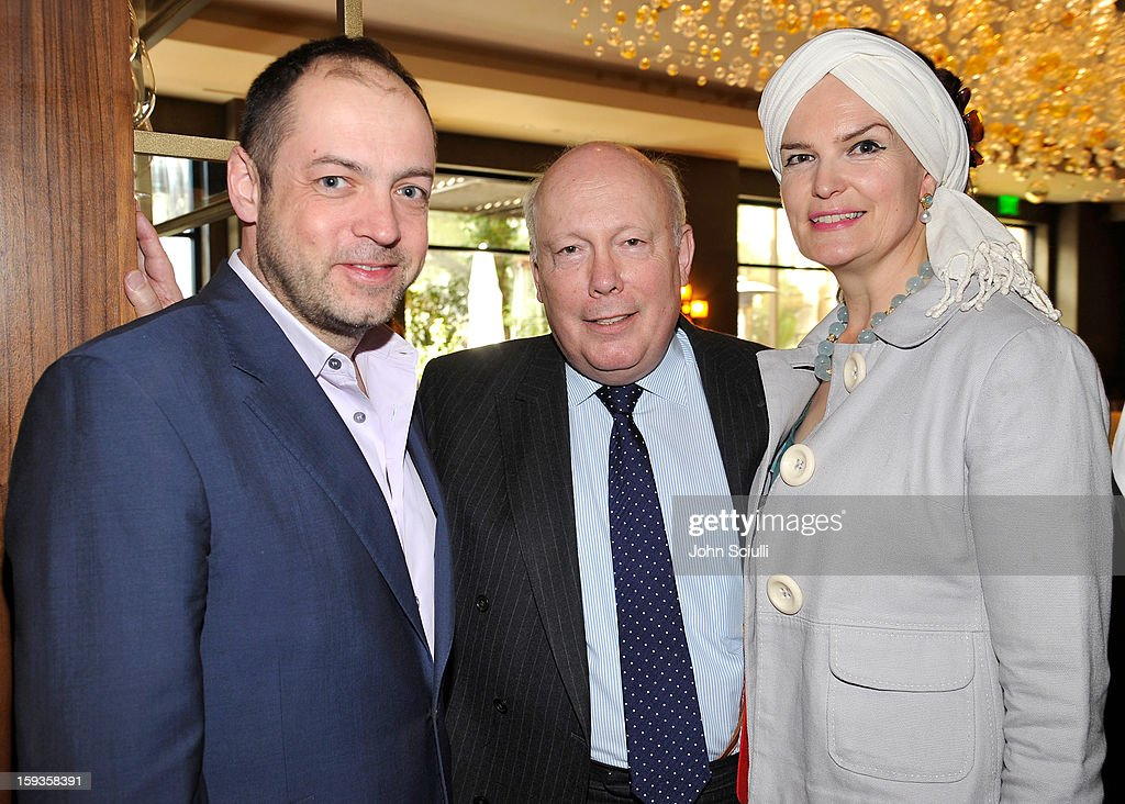 Gareth Neame, Julian Fellowes and Emma Joy Kitchener attend a Golden Globe lunch hosted by BritWeek chairman Bob Peirce honoring Julian Fellowes, Gareth Neame and Michelle Dockery at Four Seasons Hotel Los Angeles at Beverly Hills on January 12, 2013 in Beverly Hills, California.