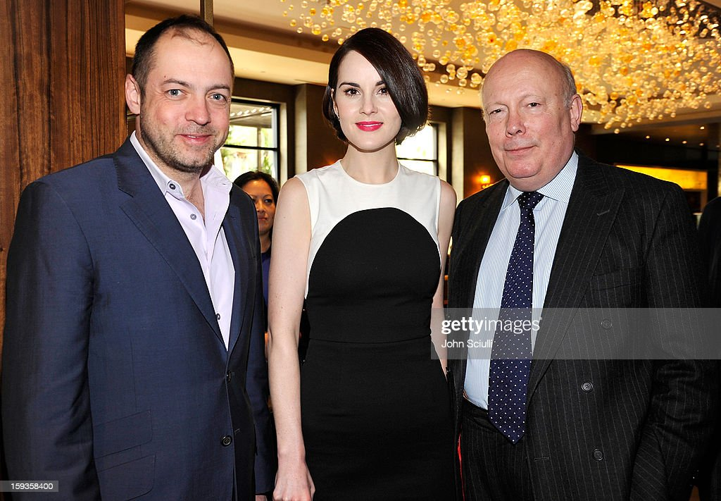 Gareth Neame, <a gi-track='captionPersonalityLinkClicked' href=/galleries/search?phrase=Michelle+Dockery&family=editorial&specificpeople=4047702 ng-click='$event.stopPropagation()'>Michelle Dockery</a> and <a gi-track='captionPersonalityLinkClicked' href=/galleries/search?phrase=Julian+Fellowes&family=editorial&specificpeople=224703 ng-click='$event.stopPropagation()'>Julian Fellowes</a> attend a Golden Globe lunch hosted by BritWeek chairman Bob Peirce honoring <a gi-track='captionPersonalityLinkClicked' href=/galleries/search?phrase=Julian+Fellowes&family=editorial&specificpeople=224703 ng-click='$event.stopPropagation()'>Julian Fellowes</a>, Gareth Neame and <a gi-track='captionPersonalityLinkClicked' href=/galleries/search?phrase=Michelle+Dockery&family=editorial&specificpeople=4047702 ng-click='$event.stopPropagation()'>Michelle Dockery</a> at Four Seasons Hotel Los Angeles at Beverly Hills on January 12, 2013 in Beverly Hills, California.