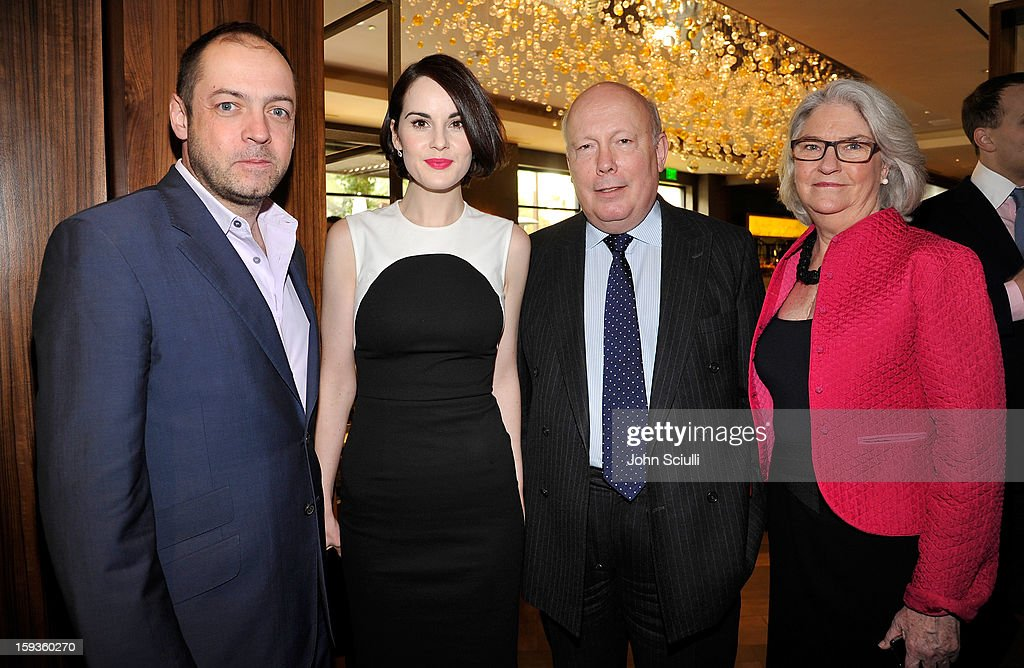 Gareth Neame, Michelle Dockery, Julian Fellowes and Rebecca Eaton attend a Golden Globe lunch hosted by BritWeek chairman Bob Peirce honoring Julian Fellowes, Gareth Neame and Michelle Dockery at Four Seasons Hotel Los Angeles at Beverly Hills on January 12, 2013 in Beverly Hills, California.