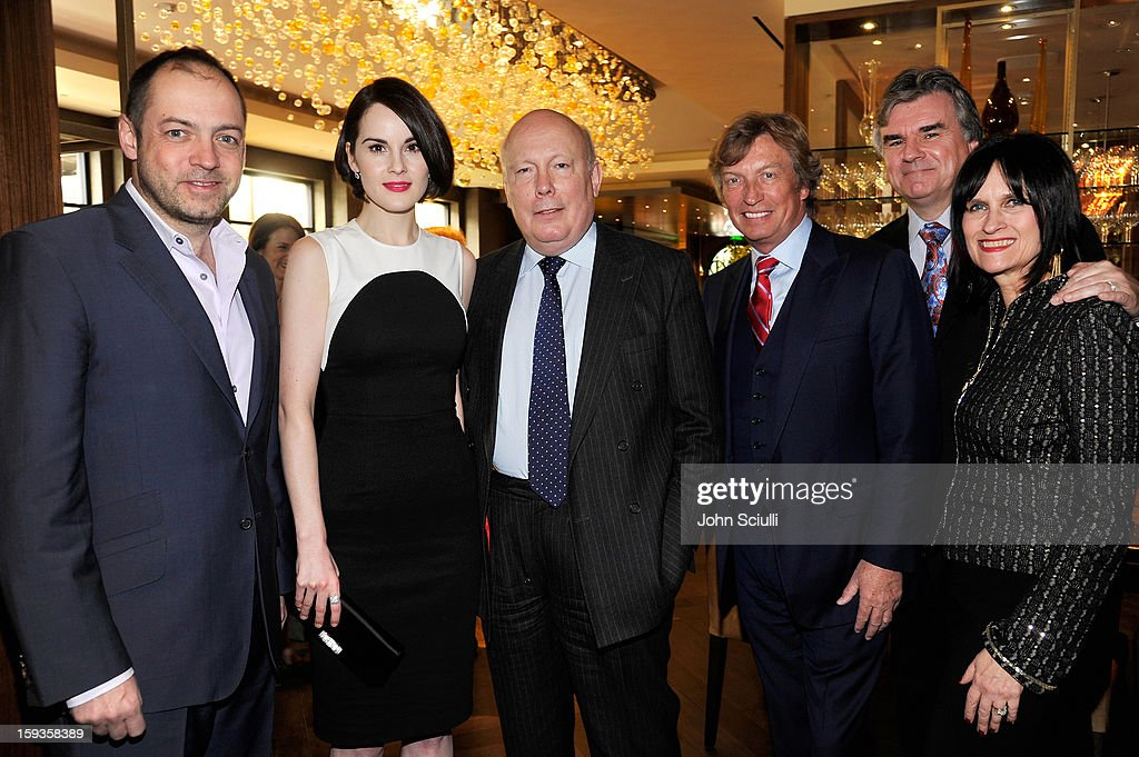 Gareth Neame, <a gi-track='captionPersonalityLinkClicked' href=/galleries/search?phrase=Michelle+Dockery&family=editorial&specificpeople=4047702 ng-click='$event.stopPropagation()'>Michelle Dockery</a>, <a gi-track='captionPersonalityLinkClicked' href=/galleries/search?phrase=Julian+Fellowes&family=editorial&specificpeople=224703 ng-click='$event.stopPropagation()'>Julian Fellowes</a>, <a gi-track='captionPersonalityLinkClicked' href=/galleries/search?phrase=Nigel+Lythgoe&family=editorial&specificpeople=736462 ng-click='$event.stopPropagation()'>Nigel Lythgoe</a>, Bob Peirce and Sharon Harroun Peirce attend a Golden Globe lunch hosted by BritWeek chairman Bob Peirce honoring <a gi-track='captionPersonalityLinkClicked' href=/galleries/search?phrase=Julian+Fellowes&family=editorial&specificpeople=224703 ng-click='$event.stopPropagation()'>Julian Fellowes</a>, Gareth Neame and <a gi-track='captionPersonalityLinkClicked' href=/galleries/search?phrase=Michelle+Dockery&family=editorial&specificpeople=4047702 ng-click='$event.stopPropagation()'>Michelle Dockery</a> at Four Seasons Hotel Los Angeles at Beverly Hills on January 12, 2013 in Beverly Hills, California.