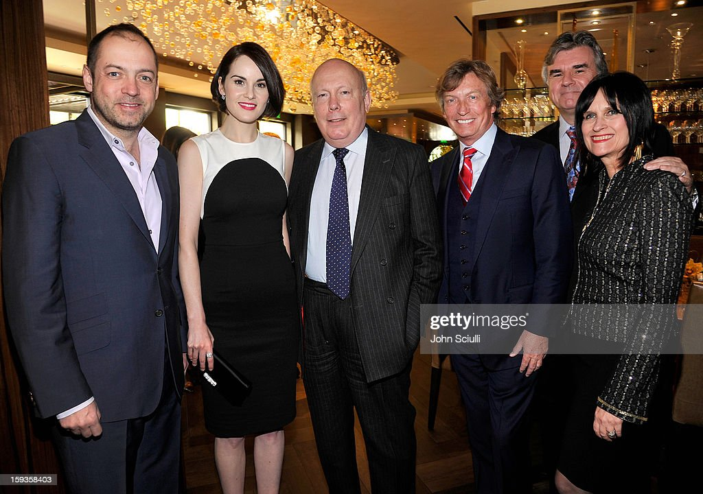 Gareth Neame, Michelle Dockery, Julian Fellowes, Nigel Lythgoe, Bob Peirce and Sharon Harroun Peirce attend a Golden Globe lunch hosted by BritWeek chairman Bob Peirce honoring Julian Fellowes, Gareth Neame and Michelle Dockery at Four Seasons Hotel Los Angeles at Beverly Hills on January 12, 2013 in Beverly Hills, California.