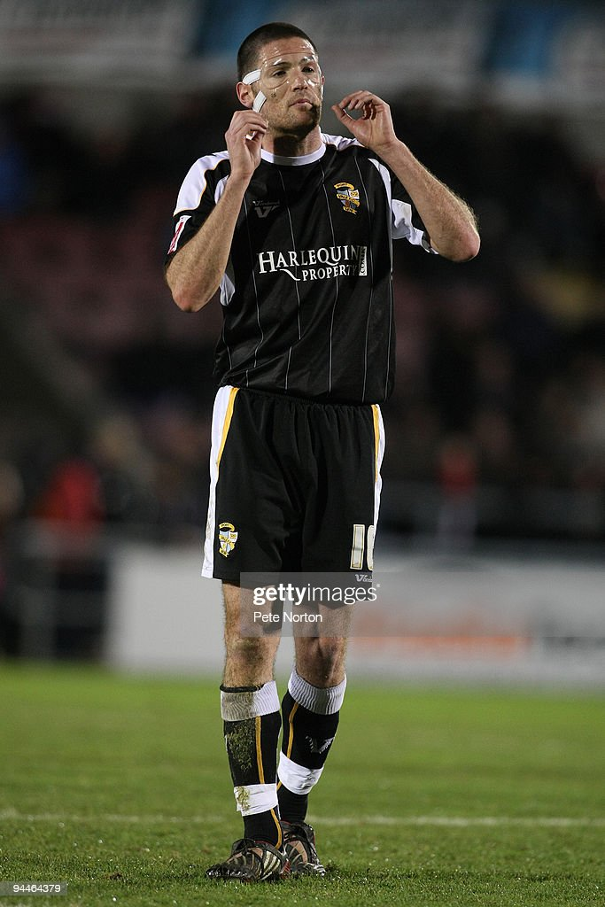 Gareth Owen of Port Vale in action wearing a protective mask during the Coca Cola League Two Match between Northampton Town and Port Vale at Sixfields Stadium on December 12, 2009 in Northampton, England.