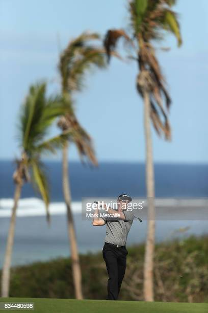 Gareth Paddison of New Zealand hits an approach shot on the 9th hole during day two of the 2017 Fiji International at Natadola Bay Championship Golf...