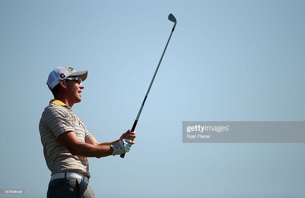 <a gi-track='captionPersonalityLinkClicked' href=/galleries/search?phrase=Gareth+Paddison&family=editorial&specificpeople=240633 ng-click='$event.stopPropagation()'>Gareth Paddison</a> of New Zealand plays a fairway shot during round three of the 2012 Australian Open at The Lakes Golf Club on December 8, 2012 in Sydney, Australia.