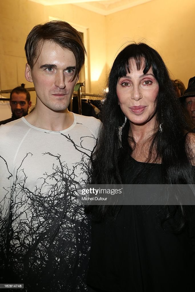 Gareth Pugh and Cher backstage after the Gareth Pugh Fall/Winter 2013 Ready-to-Wear show as part of Paris Fashion Week on February 27, 2013 in Paris, France.