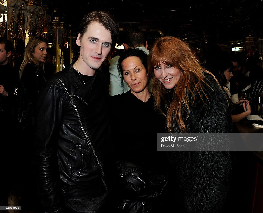 (L to R) Gareth Pugh, Lady Amanda Harlech and Charlotte Tilbury attend the AnOther Magazine and Dazed & Confused party with Belvedere Vodka at the Cafe Royal hotel on February 18, 2013 in London, England.