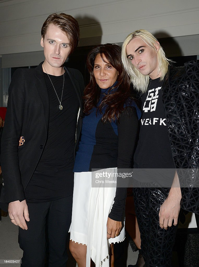 Gareth Pugh, <a gi-track='captionPersonalityLinkClicked' href=/galleries/search?phrase=Laurie+Lynn+Stark&family=editorial&specificpeople=2697054 ng-click='$event.stopPropagation()'>Laurie Lynn Stark</a> and Carson McCall attend a dinner for Pugh hosted by Chrome Hearts at Malibu Farm on October 10, 2013 in Malibu, California.