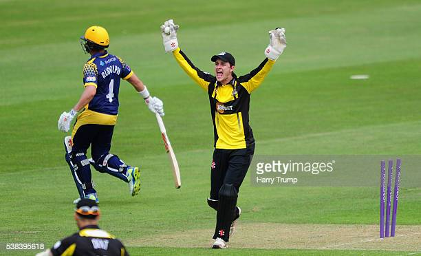 Gareth Roderick of Gloucestershire as Jacques Rudolph of Glamorgan is run out during the Royal London One Day Cup match between Glamorgan and...