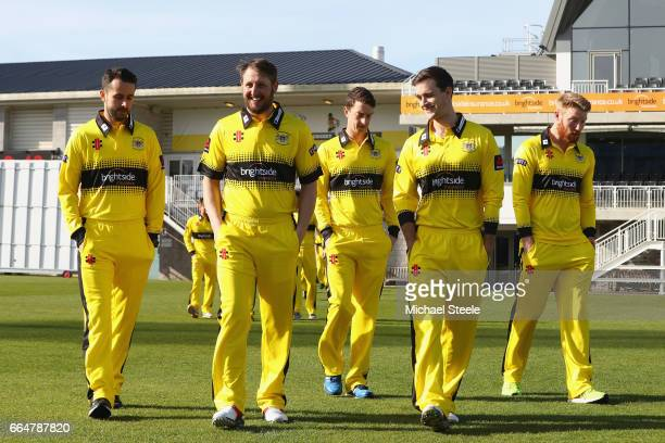 Gareth Roderick the captain of Gloucestershire alongside Phil Mustard and Jack Taylor in the NatWest T20 Blast kit during the Gloucestershire County...