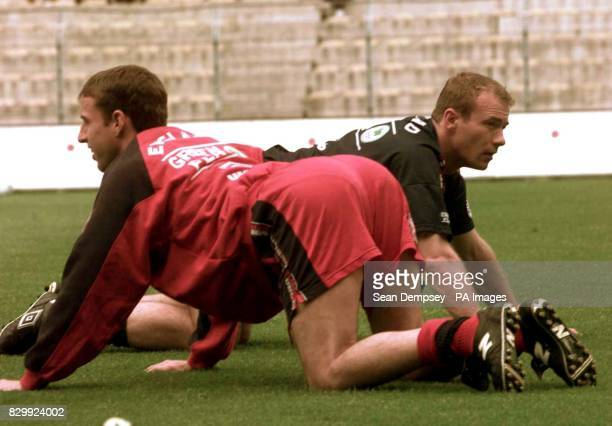 Gareth Southgate and Alan Shearer warm up for a training session in Nantes today in preparation for England's first match in the Tournoi de France...