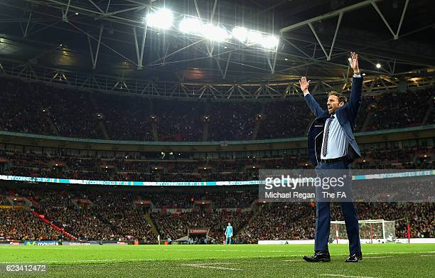 Gareth Southgate Interim Manager of England reacts during the international friendly match between England and Spain at Wembley Stadium on November...