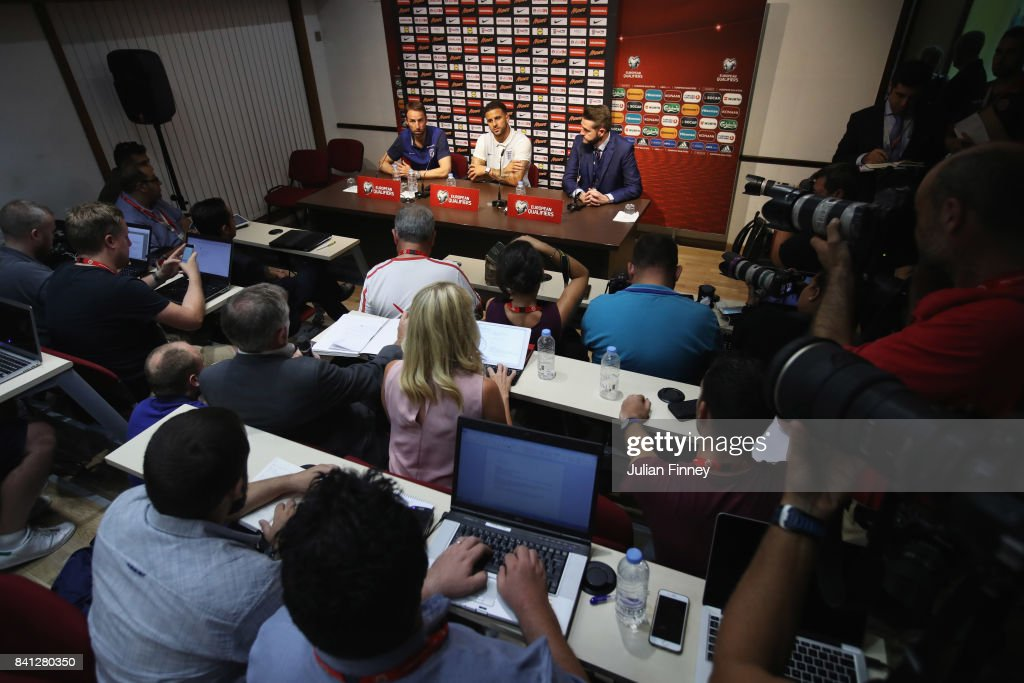 Gareth Southgate manager of England and defender Kyle Walker look on during an England press conference on the eve of the World Cup qualifying match against Malta at Ta'Qali National Stadium on August 31, 2017 in Valletta, Malta.