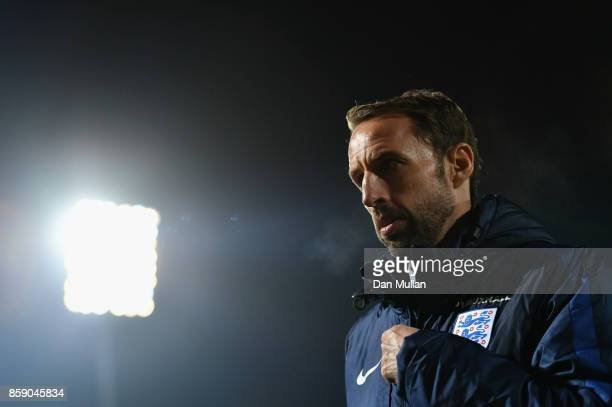 Gareth Southgate manager of England looks on after the FIFA 2018 World Cup Group F Qualifier between Lithuania and England at LFF Stadium on October...