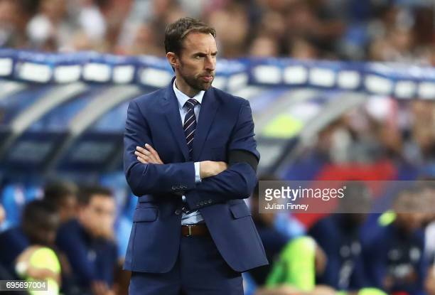 Gareth Southgate manager of England looks on during the International Friendly match between France and England at Stade de France on June 13 2017 in...
