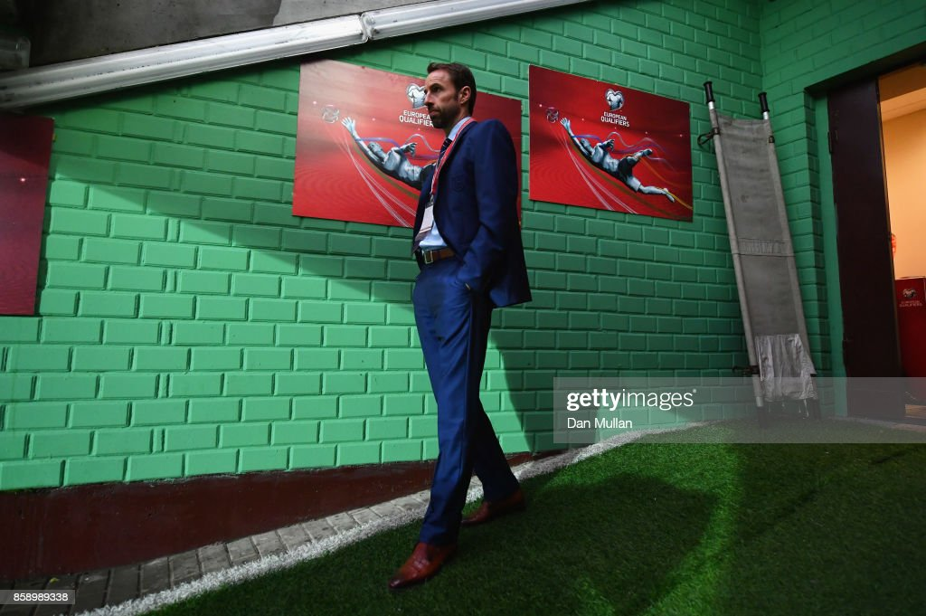 Gareth Southgate manager of England walks out of the tunnel prior to the FIFA 2018 World Cup Group F Qualifier between Lithuania and England at LFF Stadium on October 8, 2017 in Vilnius, Lithuania.