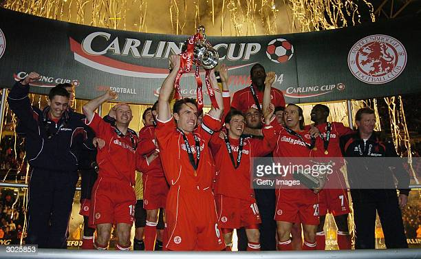 Gareth Southgate of Middlesbrough and his teammates celebrate with the Carling Cup after their victory over Bolton Wanderers in the Carling Cup Final...