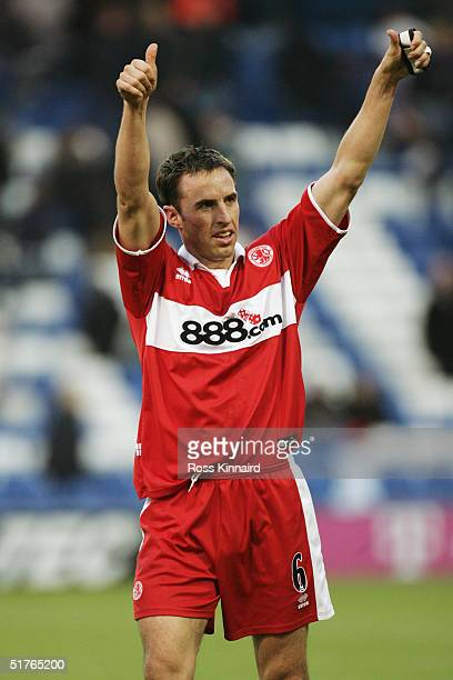 Gareth Southgate of Middlesbrough salutes the fans following the Barclays Premiership match between West Bromwich Albion and Middlesbrough at the...