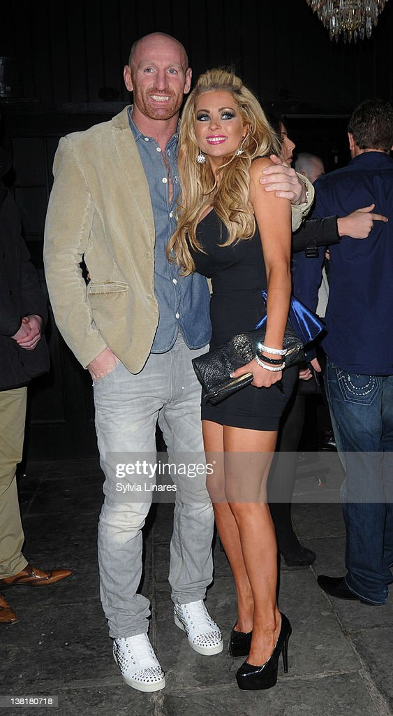 <a gi-track='captionPersonalityLinkClicked' href=/galleries/search?phrase=Gareth+Thomas+-+Rugby+Player&family=editorial&specificpeople=210696 ng-click='$event.stopPropagation()'>Gareth Thomas</a> (L) and Nicola McLean attend the Celebrity Big Brother 2012 reunion party at Sugar Hut on February 3, 2012 in London, England.