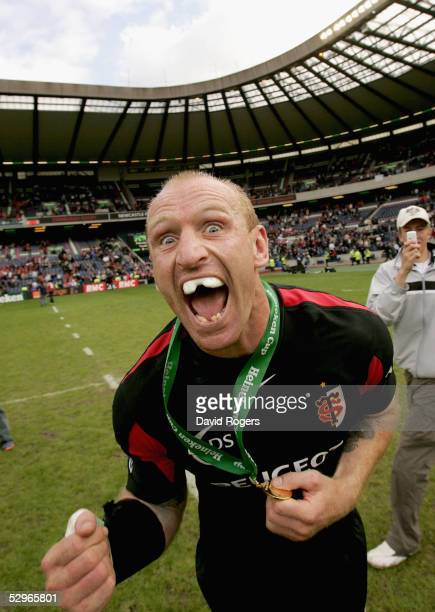 Gareth Thomas the Toulouse wing celebrates after winning the Heineken Cup Final between Stade Francais and Toulouse at Murrayfield on May 22 2005 in...